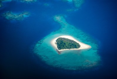 Deserted island aerial view