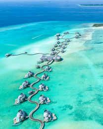 Beautiful Aerial View of Soneva Jani resort
