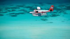 seaplane over lagoon