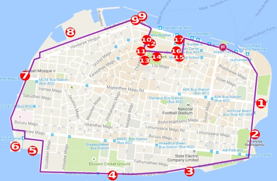 MALE CITY VISIT LONG ITINERARY HIGHLIGHTS BACKPACKERS - male map