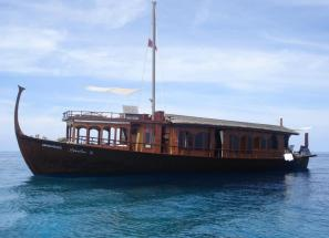 Maldivian Dhoni transformed into a floating hotel
